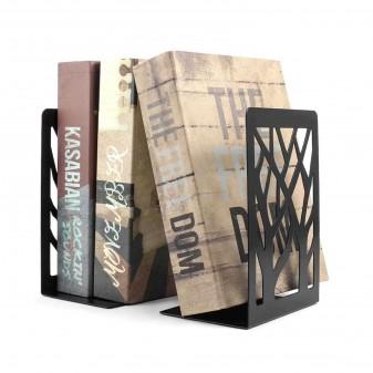 2 Adet Dekoratif Kitap Tutucu, Kitap Ayracı, Metal Kitaplık (Siyah) (4)
