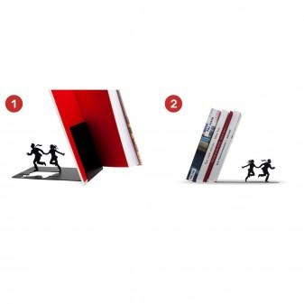 - Dekoratif Kitap Tutucu - İki kaçan Figür Kitaplık (Siyah) (1)