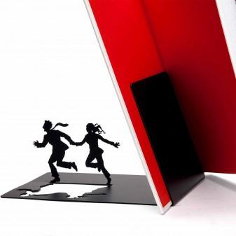 Dekoratif Kitap Tutucu - İki kaçan Figür Kitaplık (Siyah) (4)