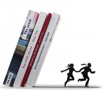 - Dekoratif Kitap Tutucu - İki kaçan Figür Kitaplık (Siyah)