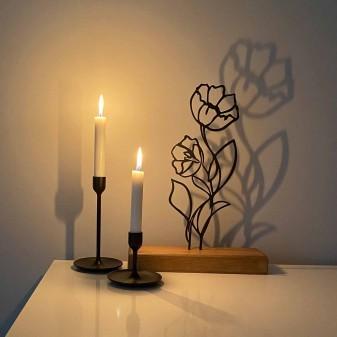Dekoratif Metal Çiçek Ev Aksesuarı - Ahşap ve Metal Ofis Hediyelik Eşya (Siyah) (4)