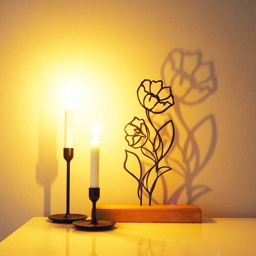 Dekoratif Metal Çiçek Ev Aksesuarı - Ahşap ve Metal Ofis Hediyelik Eşya (Siyah)