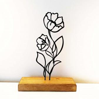 - Dekoratif Metal Çiçek Ev Aksesuarı - Ahşap ve Metal Ofis Hediyelik Eşya (Siyah)
