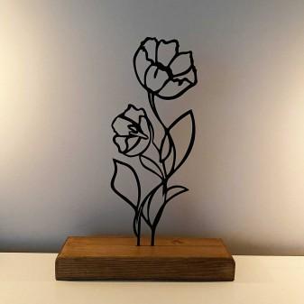 Dekoratif Metal Çiçek Ev Aksesuarı - Ahşap ve Metal Ofis Hediyelik Eşya (Siyah) - Thumbnail