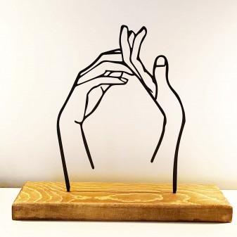Dekoratif Metal Eller Ev Aksesuarı - Ahşap ve Metal Ofis Hediyelik Eşya (Siyah) - Thumbnail
