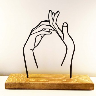 - Dekoratif Metal Eller Ev Aksesuarı - Ahşap ve Metal Ofis Hediyelik Eşya (Siyah)