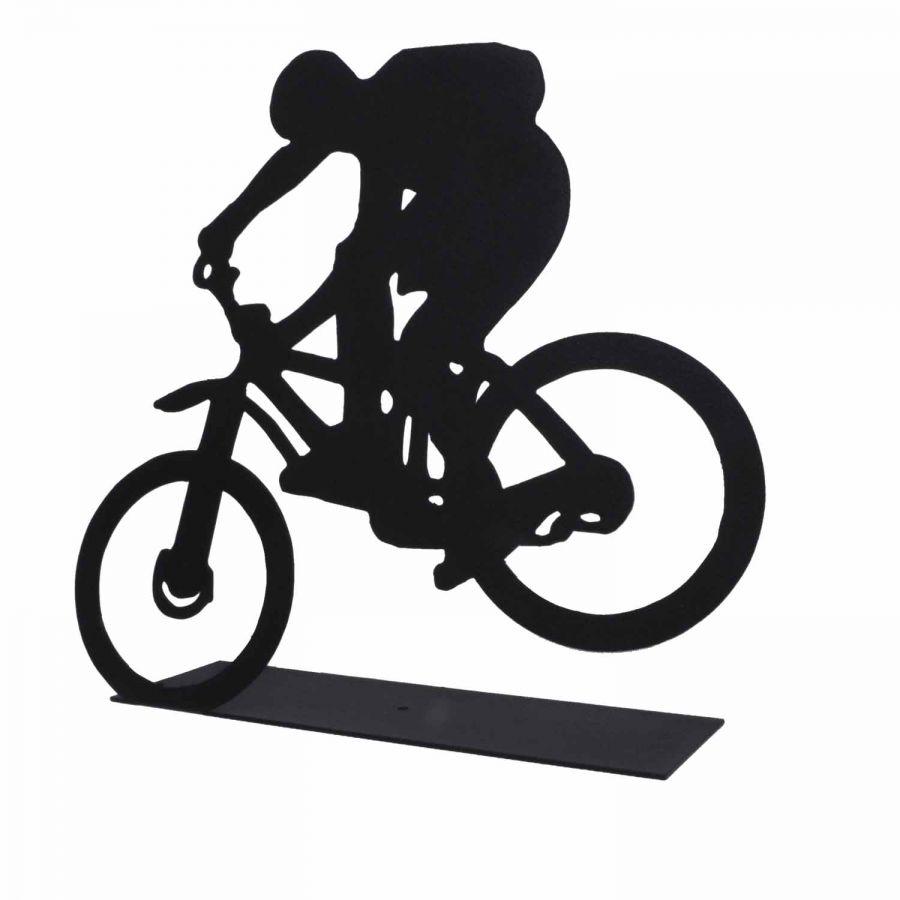 Dekoratif Metal Extreme Bisiklet Sürücüsü Metal Heykeli (Siyah)