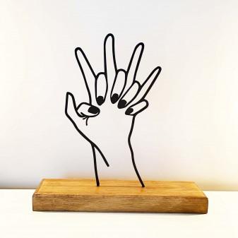 - Dekoratif Metal Kenetlenen Eller Ev Aksesuarı - Ahşap ve Metal Ofis Hediyelik Eşya (Siyah)