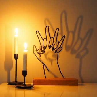 Dekoratif Metal Kenetlenen Eller Ev Aksesuarı - Ahşap ve Metal Ofis Hediyelik Eşya (Siyah) - Thumbnail