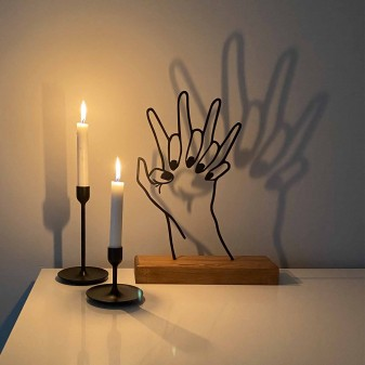 - Dekoratif Metal Kenetlenen Eller Ev Aksesuarı - Ahşap ve Metal Ofis Hediyelik Eşya (Siyah) (1)