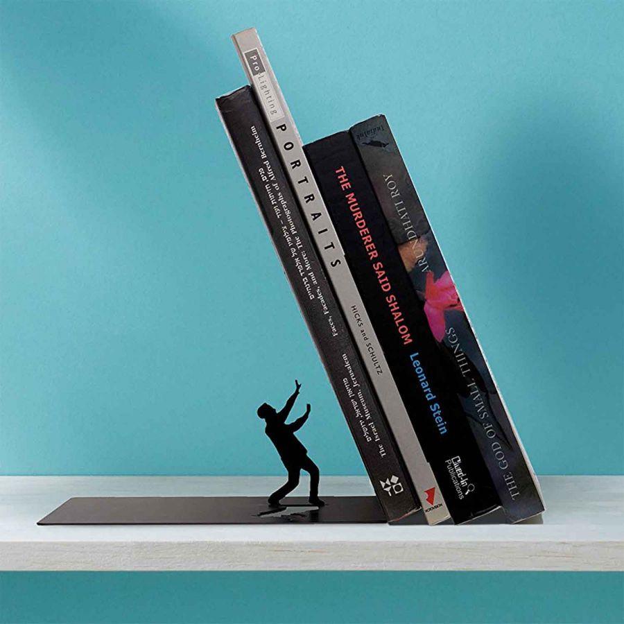 Svava Dekoratif Metal Kitaplık - Devrilen Kitaplar (Siyah)
