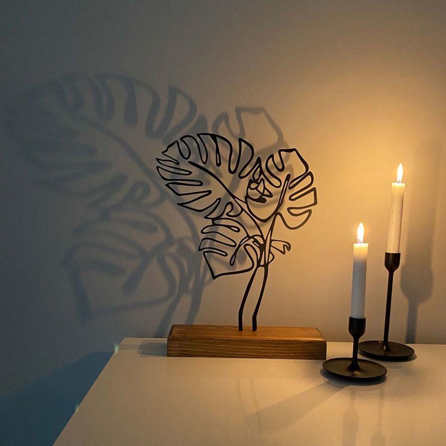 Dekoratif Metal Yaprak Ev Aksesuarı - Ahşap ve Metal Ofis Hediyelik Eşya (Siyah)