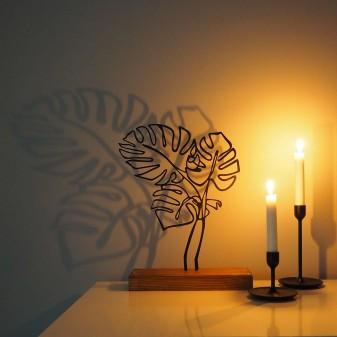 Dekoratif Metal Yaprak Ev Aksesuarı - Ahşap ve Metal Ofis Hediyelik Eşya (Siyah) - Thumbnail