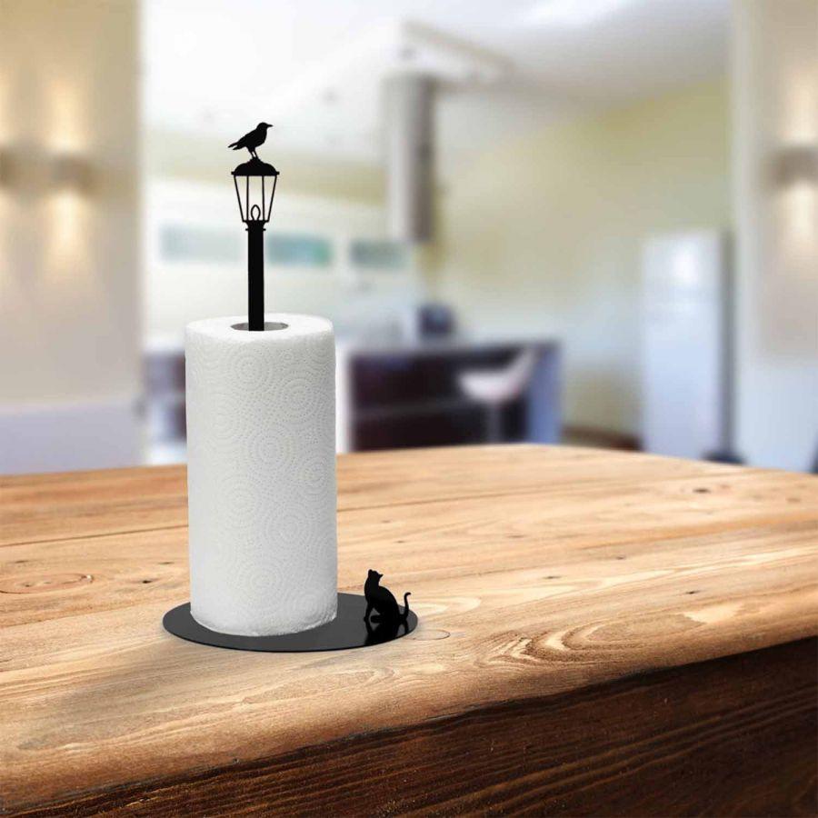 Kağıt Havluluk Kedi ve Karga, Metal Mutfak Kağıt Standı (Siyah)