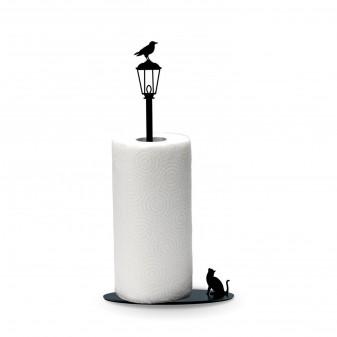 Kağıt Havluluk Kedi ve Karga, Metal Mutfak Kağıt Standı (Siyah) - Thumbnail