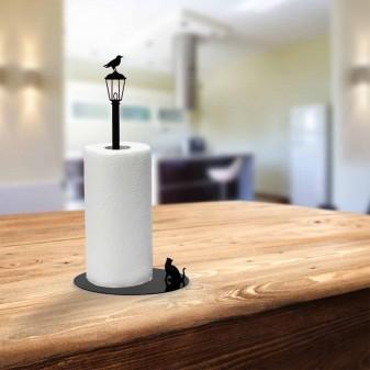Kağıt Havluluk Kedi ve Karga, Metal Mutfak Kağıt Standı (Siyah) (2)