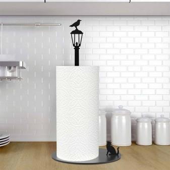 Kağıt Havluluk Kedi ve Karga, Metal Mutfak Kağıt Standı (Siyah) (4)