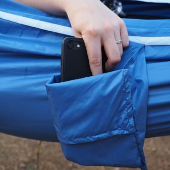 Kamp ve Piknik Cep Hamak - Su Geçirmez Polyester Kumaş (Mavi) - Thumbnail