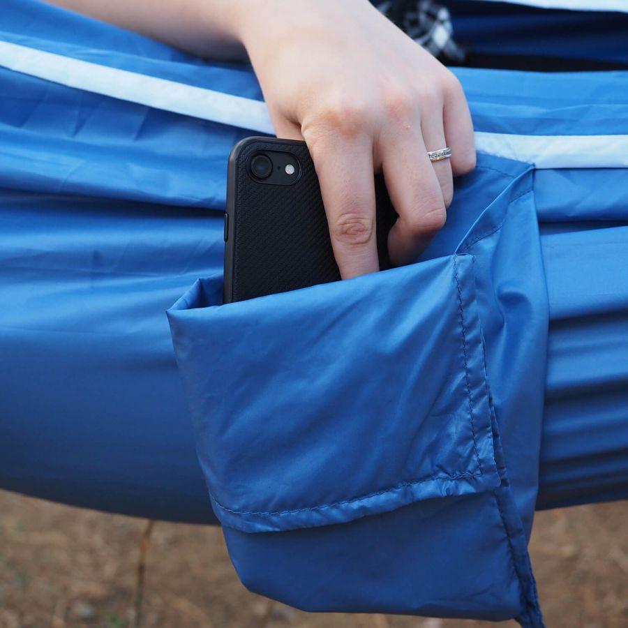 Kamp ve Piknik Cep Hamak - Su Geçirmez Polyester Kumaş (Mavi)