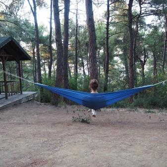 - Kamp ve Piknik Cep Hamak - Su Geçirmez Polyester Kumaş Hamak (Mavi)