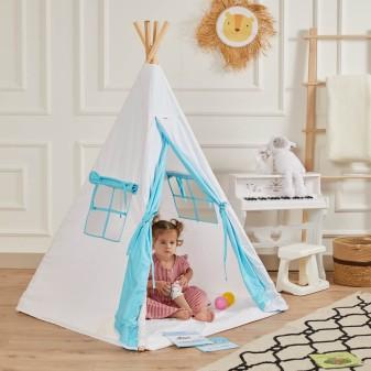 Kızılderili Çocuk Oyun Çadırı - %100 Pamuk Çocuk Çadırı (Beyaz) - Thumbnail