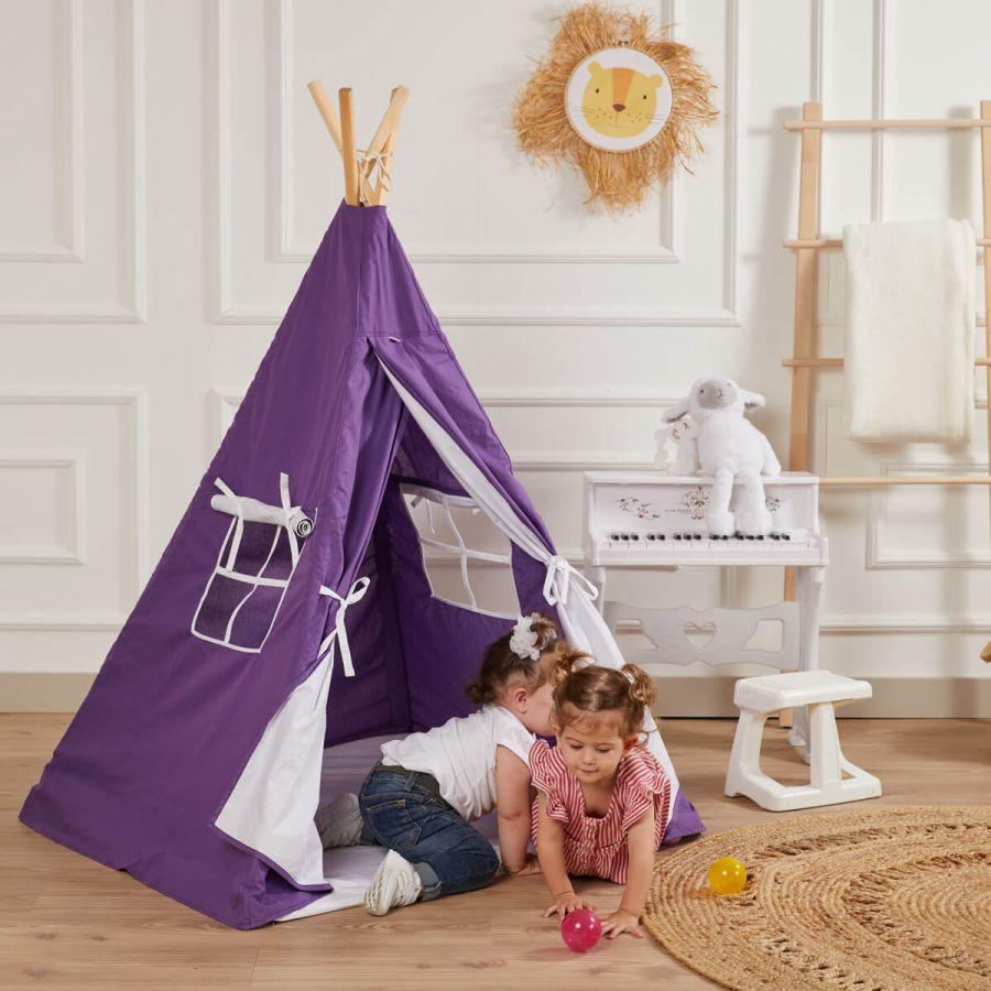 Kızılderili Çocuk Oyun Çadırı - %100 Pamuk Çocuk Çadırı (Mor)