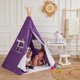 Kızılderili Çocuk Oyun Çadırı - %100 Pamuk Çocuk Çadırı (Mor) - Thumbnail