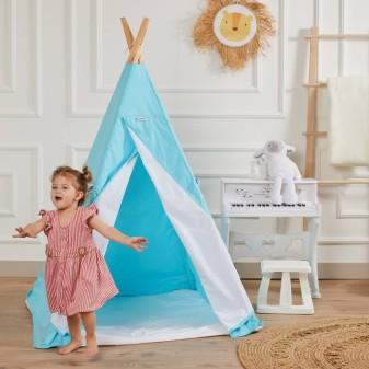 Kızılderili Çocuk Oyun Çadırı - %100 Pamuk Çocuk Çadırı (Turkuaz) - Thumbnail