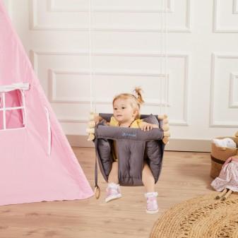 Konfor Ahşap Bebek Salıncak, Tavana Asılan Çocuk Salıncağı (Gri) - Thumbnail