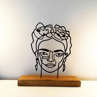 - Metal Dekoratif Heykel Frida - Metal Duvar Sanatı Ev Aksesuarı (Siyah)