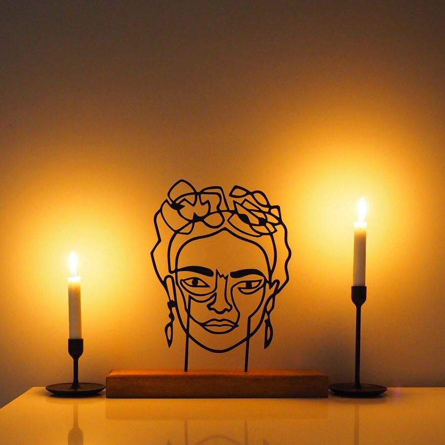 Metal Dekoratif Heykel Frida - Metal Duvar Sanatı Ev Aksesuarı (Siyah)