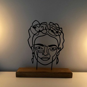 Metal Dekoratif Heykel Frida - Metal Duvar Sanatı Ev Aksesuarı (Siyah) - Thumbnail