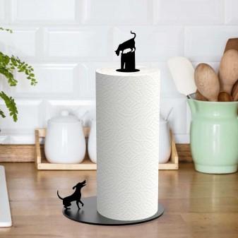- Metal Kağıt Havluluk - Kedi Ve Köpek Figürlü Dekoratif Havluluk (Siyah)