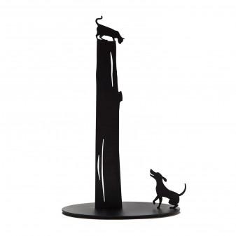 Metal Kağıt Havluluk - Kedi Ve Köpek Figürlü Dekoratif Havluluk (Siyah) (2)