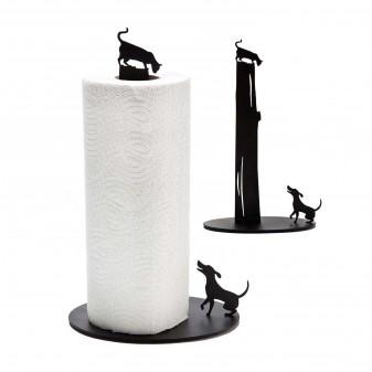 Metal Kağıt Havluluk - Kedi Ve Köpek Figürlü Dekoratif Havluluk (Siyah) (3)