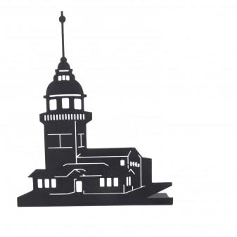 - Metal Kız Kulesi Mumluk, Metal Dekoratif Obje (Siyah)