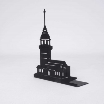 Metal Kız Kulesi Mumluk, Metal Dekoratif Obje (Siyah) (3)