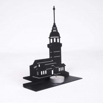 Metal Kız Kulesi Mumluk, Metal Dekoratif Obje (Siyah) (4)