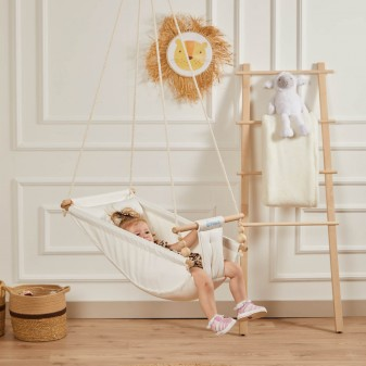 Rüya Ahşap Bebek Hamak Salıncak - Ev Tipi Tavan Salıncağı (Ham) - Thumbnail