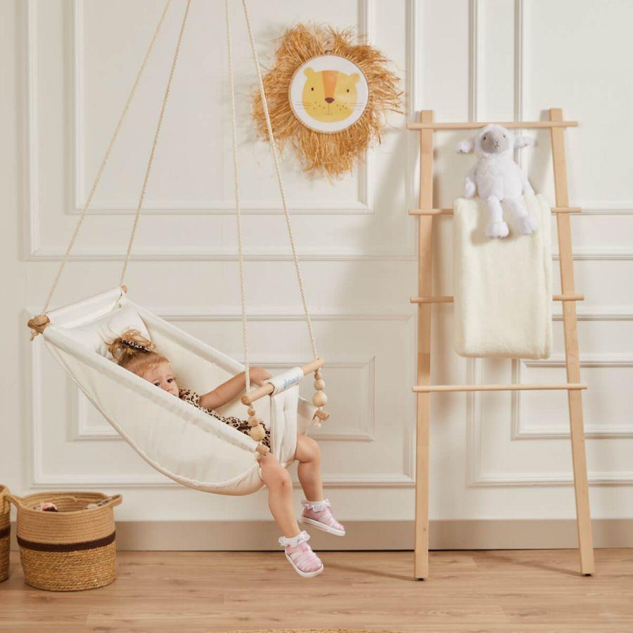 Rüya Ahşap Bebek Hamak Salıncak - Ev Tipi Tavan Salıncağı (Ham)