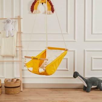Rüya Ahşap Bebek Hamak Salıncak - Ev Tipi Tavan Salıncağı (Sarı) - Thumbnail