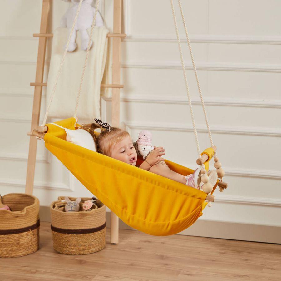 Rüya Ahşap Bebek Hamak Salıncak - Ev Tipi Tavan Salıncağı (Sarı)