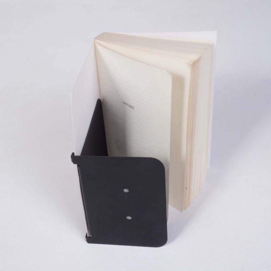 Sihirli Duvar Kitap Tutucu, Metal Dekoratif Duvar Kitaplık Modeli (Siyah)