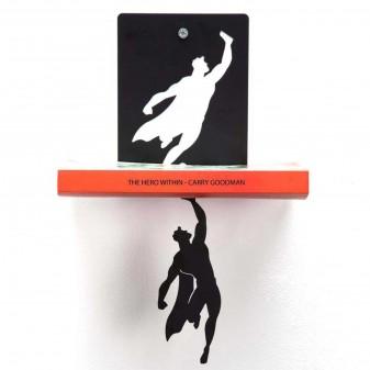 Süpermen Metal Asma Kitap Rafı - Dekoratif Kitaplık (Siyah) (2)