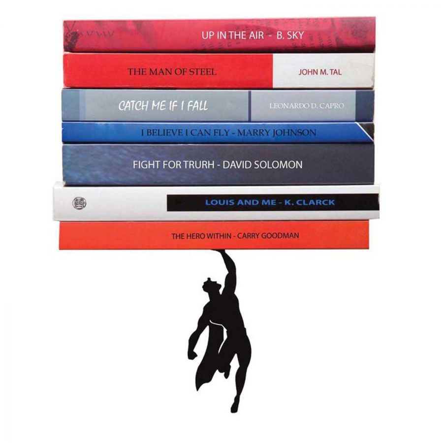 Süpermen Metal Asma Kitap Rafı - Dekoratif Kitaplık (Siyah)
