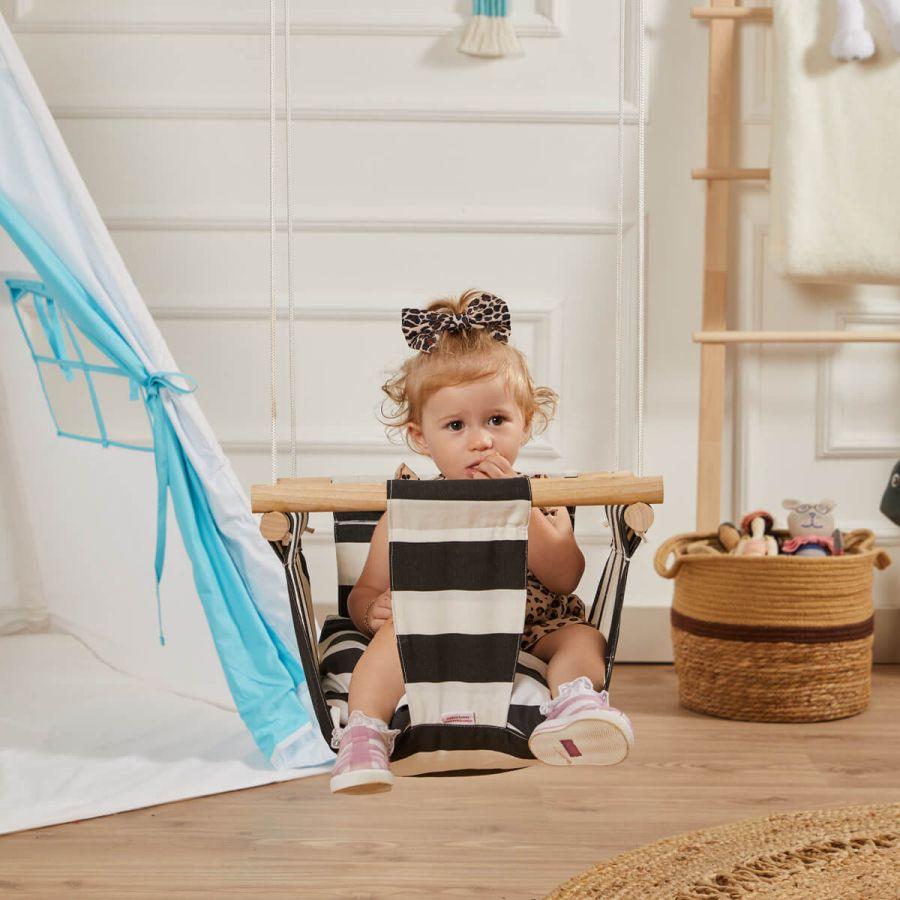 Ahşap Bebek ve Çocuk Salıncak - Tavana Salıncağı (Siyah Beyaz)