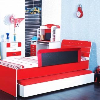 Svava Çocuk Yatak Bariyeri - Yatak Baza Korkuluğu (Kırmızı) (3)