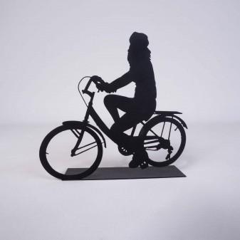Svava Dekoratif Metal Kadın Bisiklet Sürücüsü Metal Heykeli (Siyah) (4)