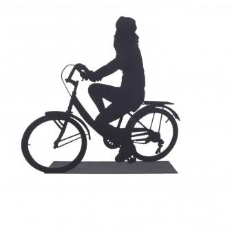 - Svava Dekoratif Metal Kadın Bisiklet Sürücüsü Metal Heykeli (Siyah)