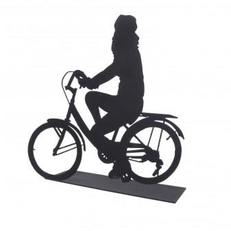 Svava Dekoratif Metal Kadın Bisiklet Sürücüsü Metal Heykeli (Siyah) (3)